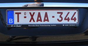 nummerplaat met het symbool b voor belgië
